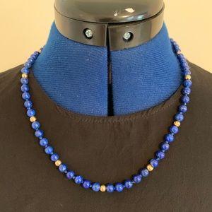 Lapis lazuli and 14 karat gold necklace, 14k clasp